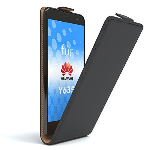 EAZY CASE Huawei Y635 Hülle Flip Cover zum Aufklappen, Handyhülle aufklappbar, Schutzhülle, Flipcover, Flipcase, Flipstyle Case vertikal klappbar, aus Kunstleder, Schwarz