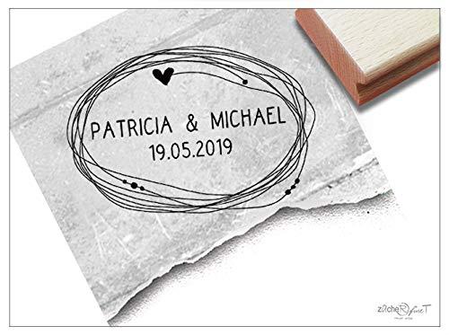Stempel Individueller Hochzeitsstempel personalisiert mit Namen und Datum, Namensstempel zur Hochzeit Einladung Geschenk Tischdeko - zAcheR-fineT (Servietten Hochzeit Personalisierte)