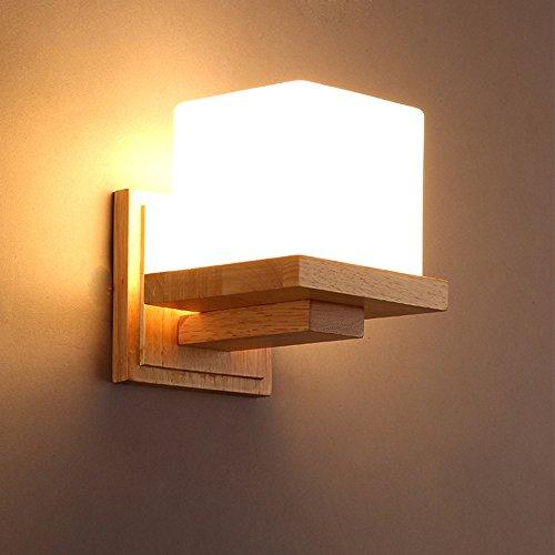 ng Wandlampe Wandleuchten Wand Lampe Indoor E27 Holz Glas Modernen Kreative für Wohnzimmer Schlafzimmer Arbeitszimmer Hotel Flur (B) (Halloween-kuchen-dekoration-klasse)
