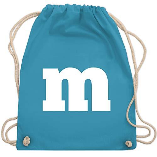 Zubehör Kostüm M&m - Karneval & Fasching - Gruppen-Kostüm m Aufdruck - Unisize - Hellblau - WM110 - Turnbeutel & Gym Bag