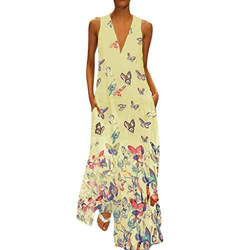 VEMOW Maxi-Kleider Elegantes Damen Langes Sommerkleid Kleid Cocktailkleid mit Schmetterlingsdruck Ärmellos Lose Beiläufige Party Langes Bodenlanges Abendkleid Ballkleid(Gelb, EU-42/CN-2XL)