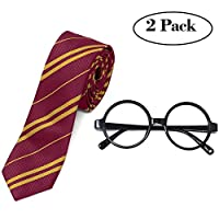 Tacobear Halloween Costumes Accessories School Boy Fancy Dress with Novelty Glasses Frame and Striped Tie for School Girls Boys Cosplay Halloween Costumes Wizard Accessories