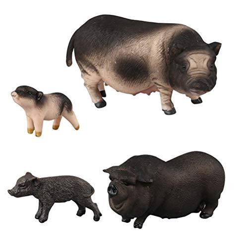 FLORMOON Realistische Tierfiguren 4 Stück Schwein Tiere Action Model Enthält Bauch Schwein Schwarzes Schwein Vietnam Sow Mini Flower Pig Pädagogisches Lernspielzeug-Geburtstags-Geschenk-Set für Kinder (Miniatur-kunststoff-schwein)