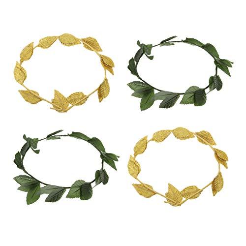 Kostüm Göttin Blatt Mit - FLAMEER Packung Mit 4 Stü Kunststoff Grün Stoff Gold Leaf Hairband, Griechische Göttin Lorbeerkranz, Kostüm Stirnband
