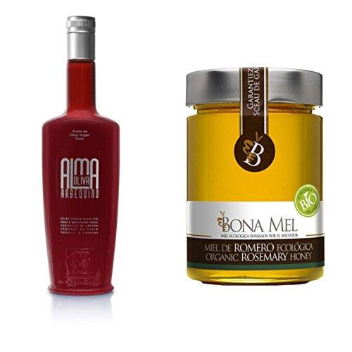 Almaoliva Arbequino 500ml - 100% roher Bio Rosmarin-Honig, reine Imkerabfüllung aus Spanien (Bio-bienenhonig)