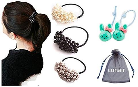 Cuhair Lot de 3 élastiques en caoutchouc 1Noir 1Gris, 1Blanc et perles en plastique et