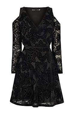 Karen Millen Black Devore Cold Shoulder FIT Flare Party Dress 10 38