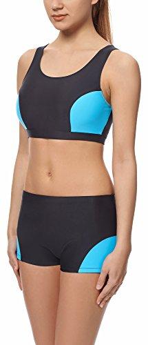 Merry Style Damen Sport Bikini Top Modell S1LL Schwarz/Blau (6046)