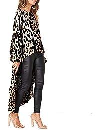 df16112986c7 Cikuso Donna Moda Allentata O Collo Manica Puff Stampa Leopard Asimmetrica  Camicetta Lunga Donna Autunno Casual