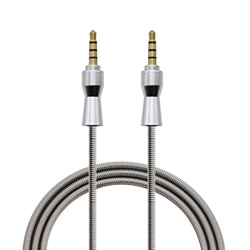 SpringHebezeugAudioAuto auf der Aufnahme AudioLine 3.5mm JackEllenbogenStecker StereoKopfhörer Auto Aux AudioVerlängerungskabel Kingko (Silber)