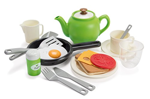 Dantoy Green Garden Breakfast Set, Role Play Tea and Food Set with 18 Pieces Pretend Play Toys for Kids