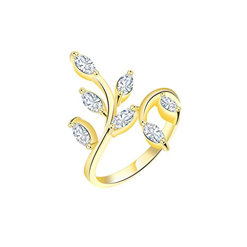 Gnzoe Gioielli,Placcato Oro Foglia CZ Adjustable Moda Anello Matrimonio Anelli per Donna Dimensione 17