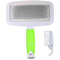 STXMALL Cat Brush Slicker Small Dog Brush Effectively Reduces Long and Short Fur Professional Cart Small Dog Pet Grooming Brush Tool Set Green S