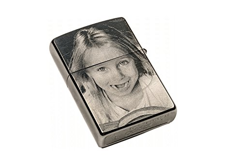 ORIGINAL ZIPPO Feuerzeug EINSEITIGE Wunsch Gravur | Zippo graviert mit Deinem Foto und Text | chrome brushed silber matt | personalisiert + individuell