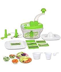 Floraware Manual Food Processor - Chopper, Blender, Atta Maker, Dough Kneader,14 Pieces (Green)