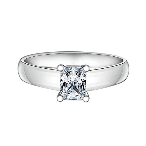(Custom Ringe)Adisaer Ring Silber 925 Damen Vier Klaue Kristall Strass CZ Rechteck Verlobungsring Größe 65 (20.7) Kostenlos (Baby Kostüme Für Bull)