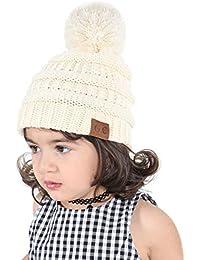 Sombrero Bebé Niño Invierno Cálido Gorro Gorra con Pom de Punto Beanie Warm Cap Otoño Invierno Tejidos Sombreros para Niños Niñas