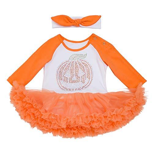 Baby Jungen Mädchen Neugeborenen Langarm Kürbis Drucken Prinzessin Strampler Overall Kleidung Tutu Kleid und Bowknot Stirnband 2 Stück Halloween Karneval Party Kleid von Innerternet