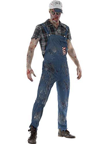 Männer Kostüm Zombie Hillbilly Landei Horror Techniker mit Latzhose Shirt und Baseball Cape, perfekt für Halloween Karneval und Fasching, L, Blau ()