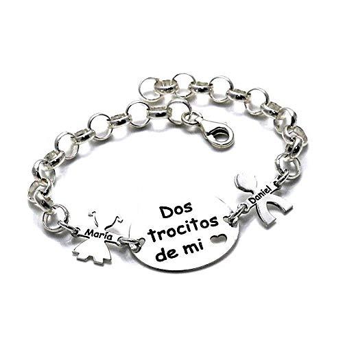 Silber Armband Rolo Kette 18.5cm 925m Act. Zwei Stücke von My Heart Kinder Benutzerdefinierte Namen - Anpassbare - Aufnahme im Preis enthalten -