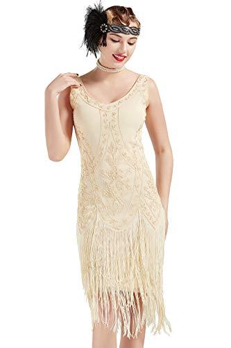 Coucoland 1920s Kleid Damen Flapper Kleid ohne Ärmel V Ausschnitt Knielang Charleston Kleid Gatsby Motto Party Damen Fasching Kostüm Kleid (Aprikose, M)