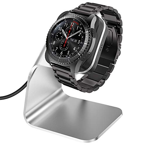 CAVN Ladegerät Kompatibel mit Samsung Galaxy Watch 46mm /42mm /Gear S3 Induktive Ladestation, (150cm/4.9ft) Ersatz USB Aluminium Ladekabel Schnellladegerät Lade Dock für Galaxy Watch/Gear S3, Silber