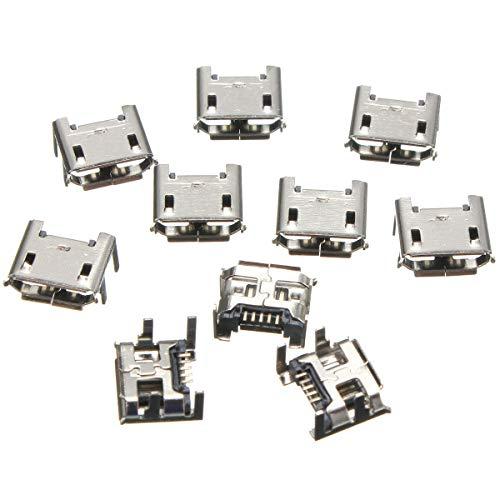 LaDicha 10Pcs Micro Usb Tipo B 5 Pin Femmina Presa 4 Gambe Verticali Per Connettore A S