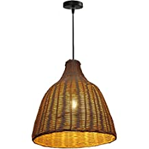 GRFH Lámparas de ratán Natural Rattan Bambú y artesanía tradicional Lámpara colgante de ratán hecho a mano