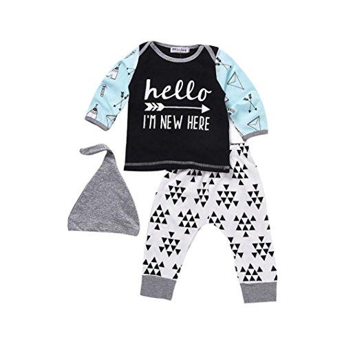 Preisvergleich Produktbild Kleidung Set Von Xinan Neugeborenen Baby Boy Girl Letter T-shirt Tops + Hosen Hut Outfits (90,  Weiß)