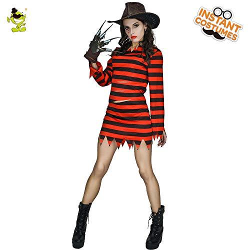 GAOGUAIG AA Erwachsener Freddy-Mörder Halloween-Kostüm-Qualitäts-Cosplay-Film-weiblicher Anzug for Frau SD (Color : Onecolor, Size : Onesize)
