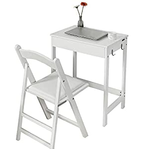 SoBuy Scrivania Bianca con cassetto e libreria, Sedia Pieghevole da scrivania, Bianco,60 * 40 cm,FWT