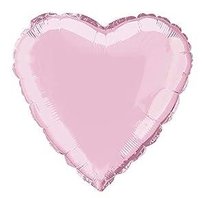 Unique Party- Globo foil helio corazón, Color rosa claro, 45 cm (52959)