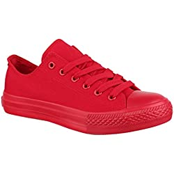 Elara Unisex Sneaker Low top Turnschuh Textil Chunkyrayan 01-A-ZY9032-Rot-38