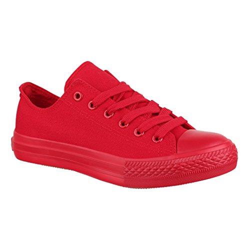 Elara Unisex Sneaker | Bequeme Sportschuhe für Herren und Damen | Low Top Turnschuh Textil Schuhe 36-46 ZY9032-Rot-45