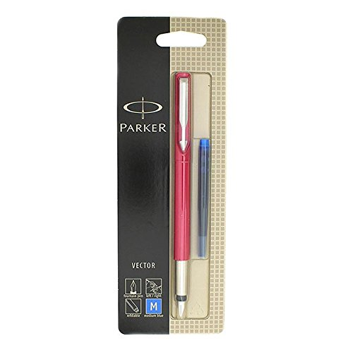 "Parker - Vector Stylo Plume Rose ""Ruby Red"" , attributs Chromés, Plume Taille Moyenne"