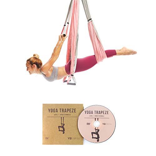 Yoga Trapeze por YOGABODY de Color Rosa, para Colgarse y Aliviar el Dolor de Espalda. Yoga Aéreo/ Yoga Trapecio/ Columpio de Yoga. DVD Incluído.