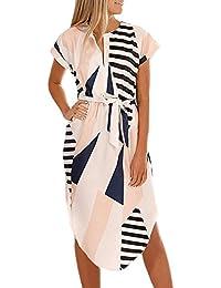 YaoDgFa Damen Kleider Maxi Elegant große größen Abendkleider Lang Maxikleid  Kurzarm V Ausschnitt Blumen Sommerkleid Cocktailkleid 0484619f60