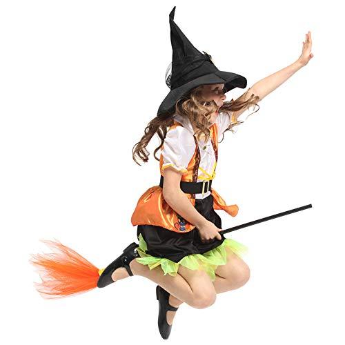 (YyZCL Mädchen Niedliche Fledermaus Kleine Hexe Halloween Kostüm Kind Piraten Halloween Cosplay Kostüm 4-12 Jahre Kinder Urlaub Geschenke (Farbe : Gelb, Größe : M(110-120cm)))