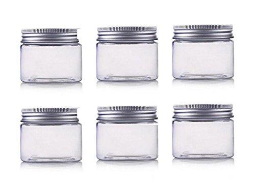 250ml / 8oz barattoli Pet contenitori cosmetici trucco casi supporti vuoto con tappo a vite in alluminio argentato, perfetti per le labbra ombretto polvere cosmetici e crema per il viso lozione
