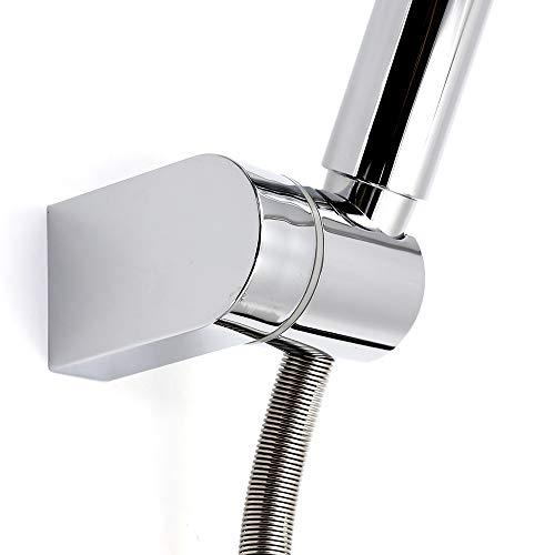 Kusun Soporte universal ajustable cabezal de ducha fijo montado Soporte de conector de pared de baño ABS Acabado en cromo HSZJ002