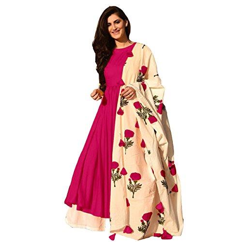 HMP Fashion New Designer Rayon Cotton Stitch kurti top rani with stitch palazzo and russian silk dupatta XXL Free size