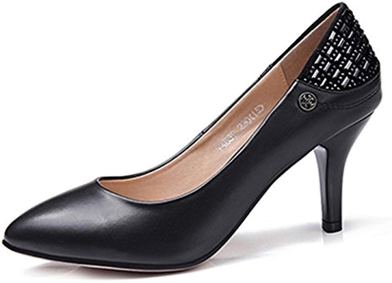 GTVERNH Damenschuhe/Flache Lackiert Spitze Dünn Betuchte Frauen Einzelne Schuhe Schwarze High Heels Sexy Weichö
