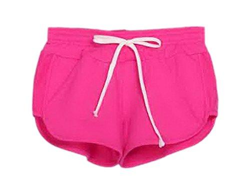 Bigood Short de Bain Femme Coton Culotte Lâche Sport Plage Running Rose Rouge