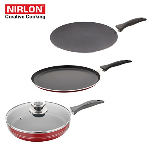NIRLON Kitchen Non Stick Cookware Sets Combo Offer Heavy base Cooking Dosa Flat Tava + Concave Roti tawa + Deep Fry pan 2 liter Premium Quality Utensils - non sticky PTFE PFOA Free Coating with best Performance Multipurpose Round Chef Pots & Pans set