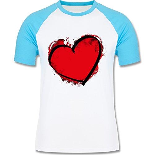 I love - Herz gemalt - zweifarbiges Baseballshirt für Männer Weiß/Türkis