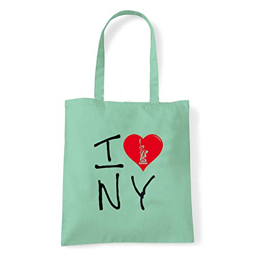 Art T-shirt, Borsa Shoulder I Love NY, Shopper, Mare Menta