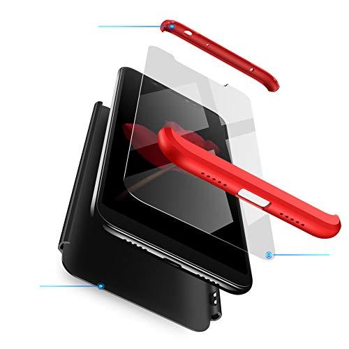 sigua Funda Compatible Xiaomi Redmi 5A, 3 in 1 Slim Fit Protectora Cover Caso Carcasa Choque Resistente 360 Grados Protección Ultra Slim Cubierta PC Hard Case + Cristal Templado,Rojo & Negro