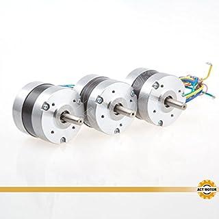 ACT Motor GmbH 3PCS BLDC Motor 57BL02 Nema23 46.5mm 0.11Nm 34W 3000RPM Round Shaft Ø8mm Carver Machine 3D-Printer CNC Machine Instrument Laser Equipment