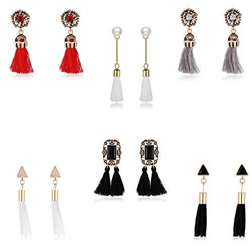6-Piece Earrings Set Tassel Dangle Drop - Prime Gift for Women Girls Teens Moms