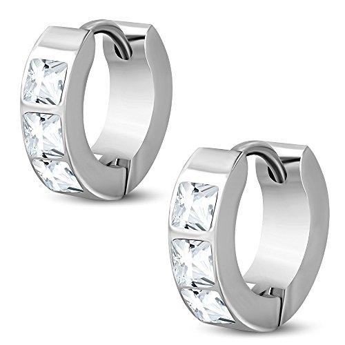 bungsa® cristallo orecchini a cerchio argento 4mm-1paio di cerchio a Clip in acciaio inox (orecchini Baguette Quadrato Orecchini Pendenti Huggie Orecchini Orecchini placcati uomo donne donna